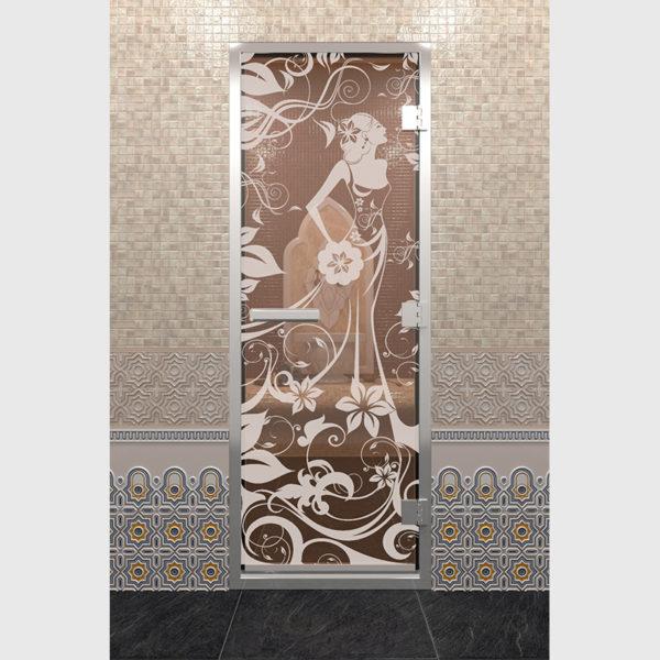 Дверь для хамама Девушка в цветах бронза