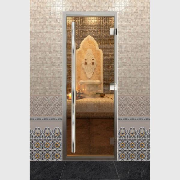 Дверь для хамама серия престиж стекло прозрачное