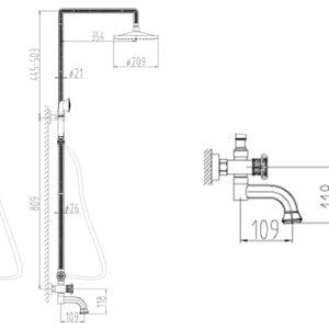 Душевой релинг ZORG A 2002DS-BR, античная бронза