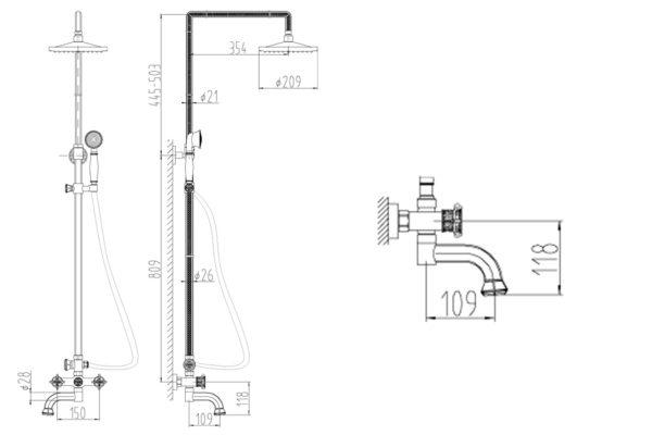 Душевой релинг ZORG A 2002DS-BR