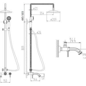 Душевой релинг ZORG A 201DS-BR, античная бронза
