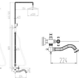 Душевой релинг ZORG A 7002DS-SL, античное серебро