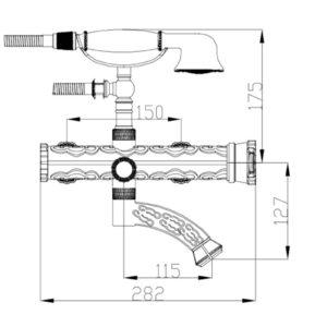 Смеситель для ванны ZORG A 100W-BR, античная бронза