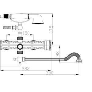 Смеситель для ванны ZORG A 101WDN-BR, античная бронза