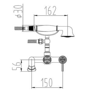 Смеситель для ванны ZORG A 200W-SL, античное серебро