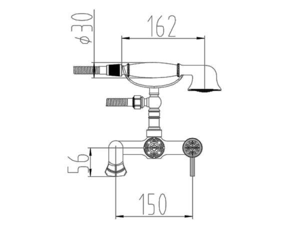 Смеситель для ванны ZORG A 200W-SL
