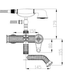 Смеситель для душа ZORG A 400W-BR, античная бронза