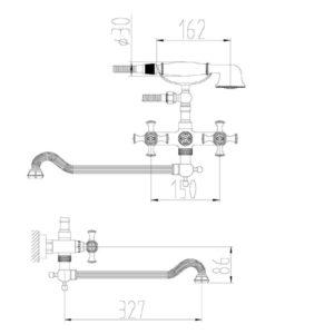 Смеситель для ванны ZORG A 7001WDN-BR, античная бронза