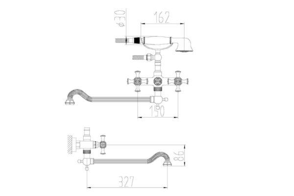 Смеситель для ванны ZORG A 7001WDN-BR