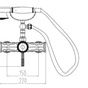 Смеситель для душа ZORG A 119DK-BR, античная бронза
