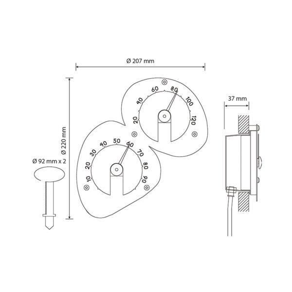Термометр-гигрометр Cariitti размеры